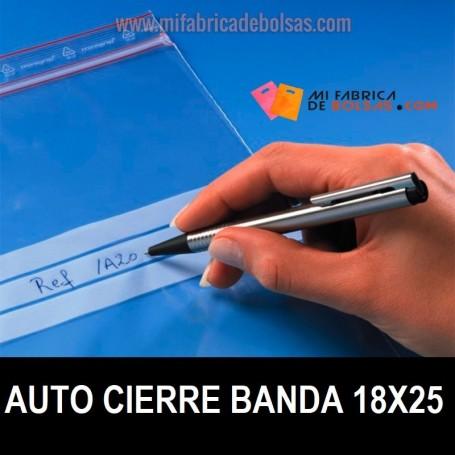 BOLSAS DE PLASTICO TRANSPARENTES CON AUTOCIERRE Y BANDAS 18X25