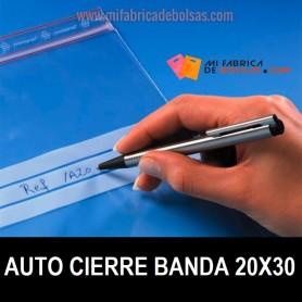 BOLSAS DE PLASTICO TRANSPARENTES CON AUTOCIERRE Y BANDAS 20X30