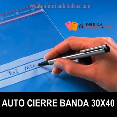 BOLSAS DE PLASTICO TRANSPARENTES CON AUTOCIERRE Y BANDAS 30X40