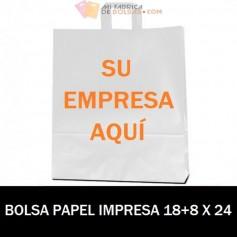 BOLSAS DE PAPEL ASA PLANA PERSONALIZADAS 18+8 X 24