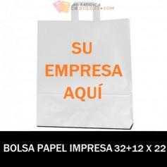 BOLSAS DE PAPEL ASA PLANA PERSONALIZADAS 32+12 X 22