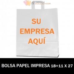 BOLSAS DE PAPEL ASA PLANA PERSONALIZADAS 18+11 X 27