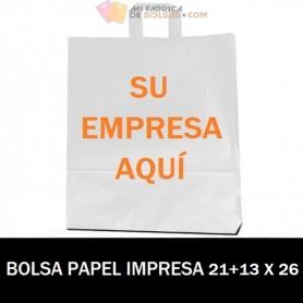 BOLSAS DE PAPEL ASA PLANA PERSONALIZADAS 21+13 X 26