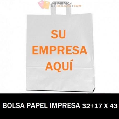 BOLSAS DE PAPEL ASA PLANA PERSONALIZADAS 32+17 X 43