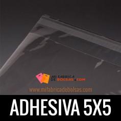 BOLSAS DE PLASTICO TRANSPARENTES POLIPROPILENO CON SOLAPA ADHESIVA 5.5X5.5