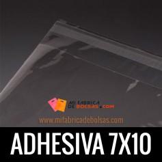 BOLSAS DE PLASTICO TRANSPARENTES POLIPROPILENO CON SOLAPA ADHESIVA 7X10