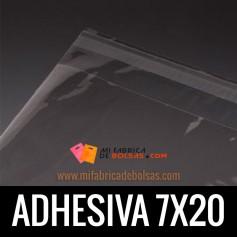 BOLSAS DE PLASTICO TRANSPARENTES POLIPROPILENO CON SOLAPA ADHESIVA 7X20
