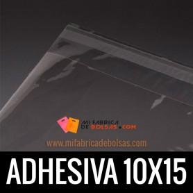 BOLSAS DE PLASTICO TRANSPARENTES POLIPROPILENO CON SOLAPA ADHESIVA 10X15