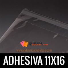 BOLSAS DE PLASTICO CON SOLAPA ADHESIVA 11X16