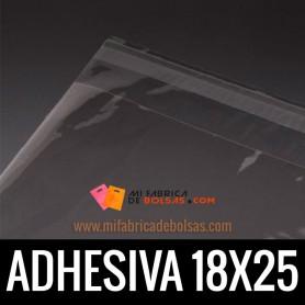 BOLSAS DE PLASTICO CON SOLAPA ADHESIVA 18X25