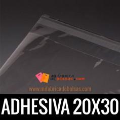 BOLSAS DE PLASTICO TRANSPARENTES POLIPROPILENO CON SOLAPA ADHESIVA 20X30