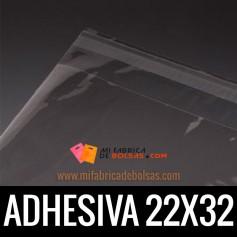 BOLSAS DE PLASTICO TRANSPARENTES POLIPROPILENO CON SOLAPA ADHESIVA 22X32