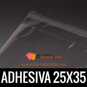 BOLSAS DE PLASTICO CON SOLAPA ADHESIVA 25X35