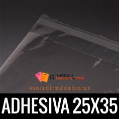 BOLSAS DE PLASTICO TRANSPARENTES POLIPROPILENO CON SOLAPA ADHESIVA 25X35