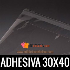 BOLSAS DE PLASTICO CON SOLAPA ADHESIVA 30X40