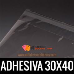 BOLSAS DE PLASTICO TRANSPARENTES POLIPROPILENO CON SOLAPA ADHESIVA 30X40