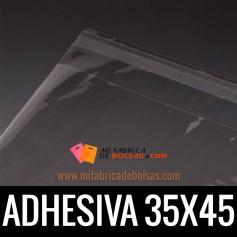 BOLSAS DE PLASTICO TRANSPARENTES POLIPROPILENO CON SOLAPA ADHESIVA 35X45