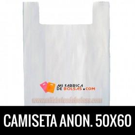 BOLSAS DE PLASTICO ASA CAMISETA ANONIMAS BLANCAS 50X60 GALGA 200