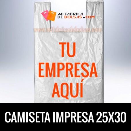 Bolsas de Plastico Asa Camiseta Personalizadas 25x30 Galga 200