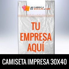 BOLSAS DE PLASTICO CAMISETA IMPRESAS 30x40 G.70