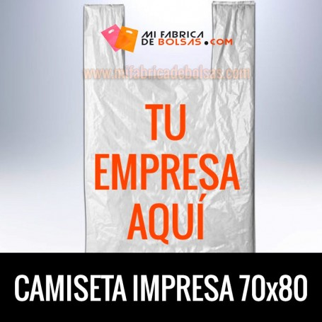 Bolsas de Plastico Asa Camiseta Personalizadas 70x80 Galga 200