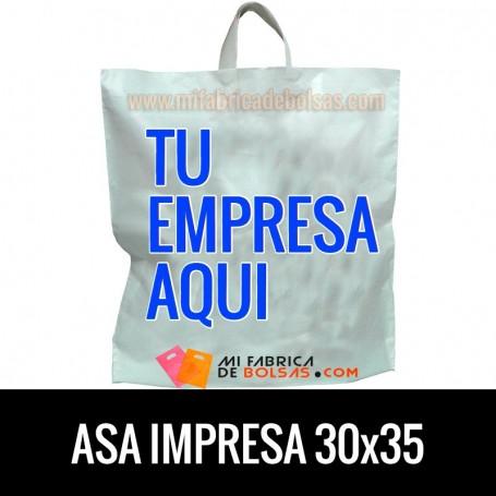 Bolsas de Plastico Asa de Lazo Personalizadas 30x35 Galga 200