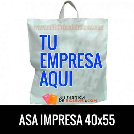 Bolsas de Plastico Asa de Lazo Personalizadas 40x55 Galga 200