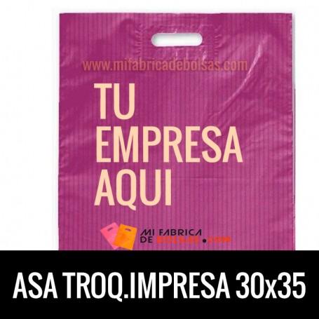 Bolsas de Plastico Asa Troquelada Personalizadas 30x35 Galga 200 Material Reciclado