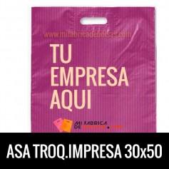 Bolsas de Plastico Asa Troquelada Personalizadas 35x50 Galga 200 Material Reciclado
