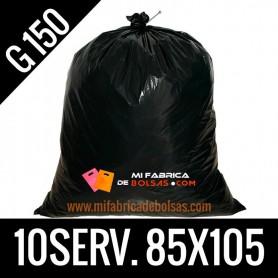 BOLSA BASURA INDUSTRIAL NEGRA 85x105 10 SERV. G.150