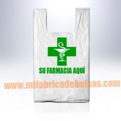 BOLSAS DE PLASTICO ASA CAMISETA FARMACIA 25X30 GALGA 200