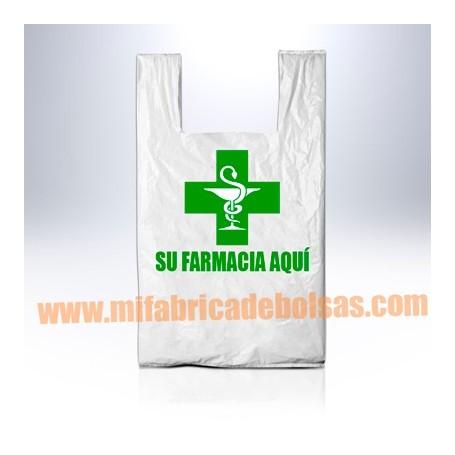 BOLSAS DE PLASTICO ASA CAMISETA FARMACIA 25X35 GALGA 200