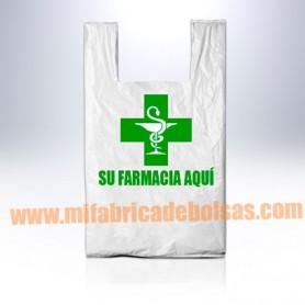 BOLSAS DE PLASTICO ASA CAMISETA FARMACIA 35X40 GALGA 200