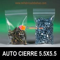 BOLSAS DE PLASTICO TRANSPARENTES CON AUTOCIERRE ZIP 5.5X5.5