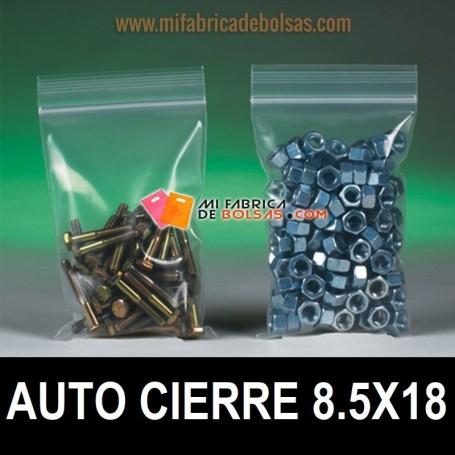 BOLSAS DE PLÁSTICO TRANSPARENTES AUTO CIERRE 8.5x18
