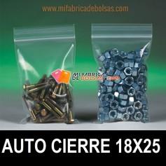 BOLSAS DE PLASTICO TRANSPARENTES CON AUTOCIERRE ZIP 18X25