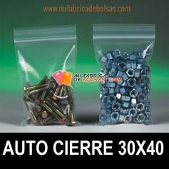 BOLSAS DE PLASTICO TRANSPARENTES CON AUTOCIERRE ZIP 30X40