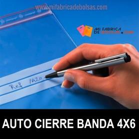 BOLSAS DE PLÁSTICO AUTO CIERRE CON BANDA ESCRITUA 4x6