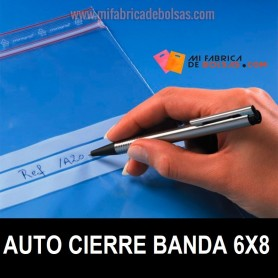 BOLSAS DE PLASTICO TRANSPARENTES CON AUTOCIERRE Y BANDAS 6X8