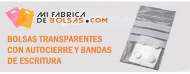 BOLSAS AUTOCIERRE CON BANDAS DE ESCRITURA